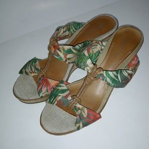 Sperry Top-sider wedge sandals tropical print